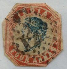 1854 India SG25 4 Anna Head Die III, Frame Die II, Blue /Rose Stamp cancelled