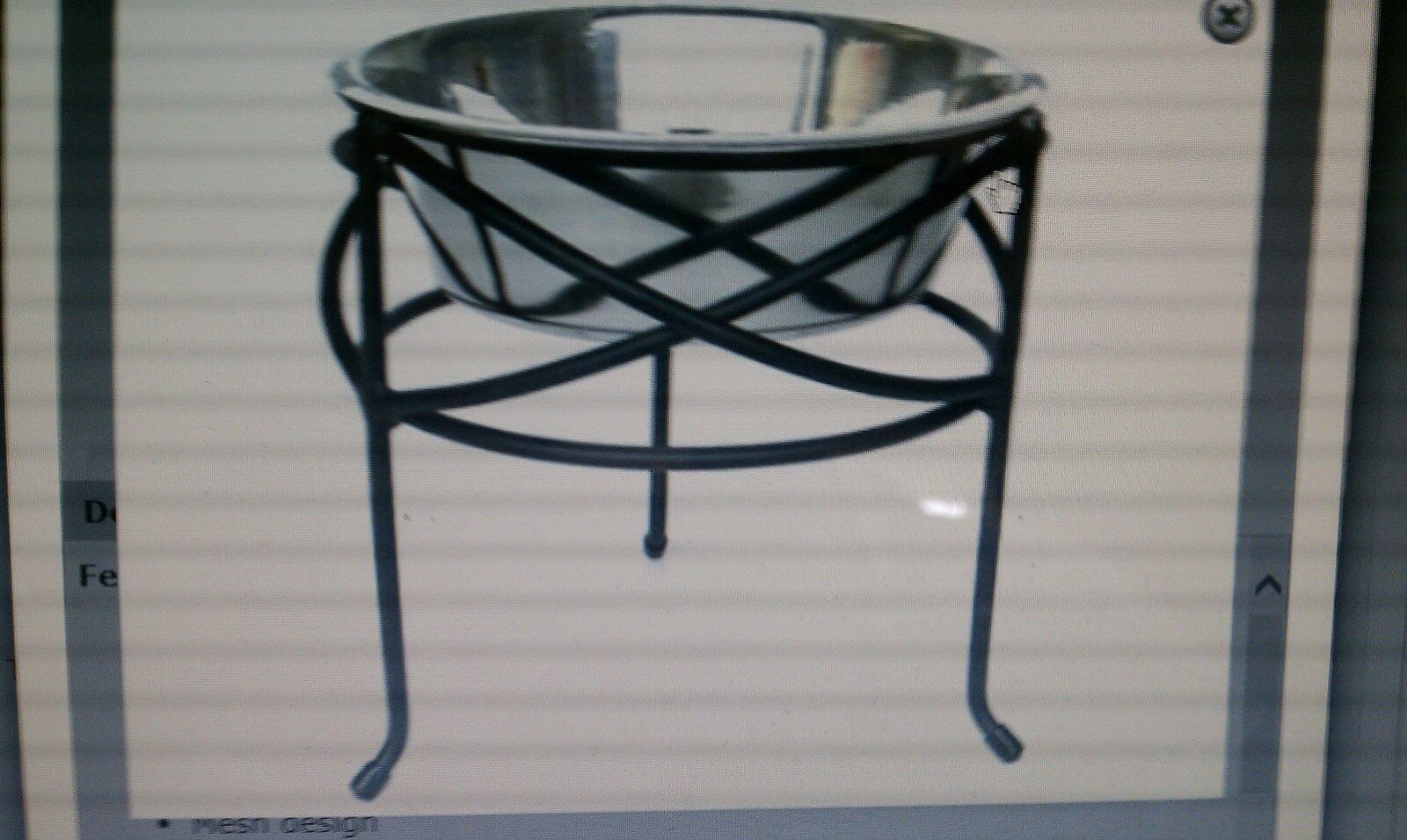 A  MESH  ELEVATED (off the floor) DOG BOWL FEEDER - LETS YOUR PET EAT IN STYLE