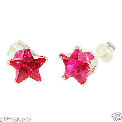 Sterling Silver STAR Earrings Ruby CZ July Birthstone Studs Red