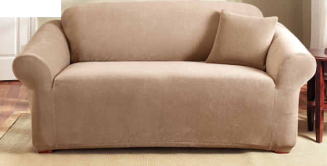 Amazing Sure Fit Stretch Corduroy Pearson Loveseat Slipcover Box Style Seat Cushion Tan Machost Co Dining Chair Design Ideas Machostcouk