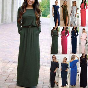 Womens-Maxi-Boho-Floral-Summer-Beach-Long-Skirt-Evening-Cocktail-Party-Dress