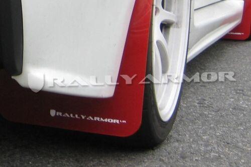 Rally Armor Mud Flaps For 07-12 Mitsubishi Lancer Sedan 4Dr Red w White Logo