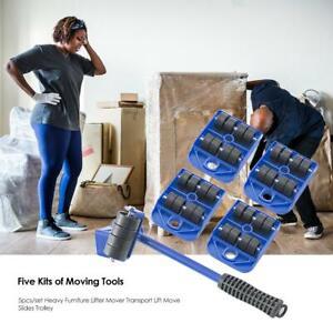 5pcs Heavy Duty Furniture Lifter Mover Sofa Transport Lift Move Slides Trolley Ebay