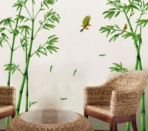 Wandsticker Wandtattoo Bambus Aufkleber Baum Pflanze Vogel Zimmer