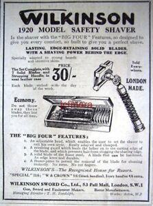 039-WILKINSON-039-1920-Model-Safety-Razor-Shaving-ADVERT-Small-1920-Print-AD