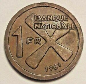 Katanga-1-Franc-1961-KM-1-Cross-of-Katanga-4560-Congo-Belge