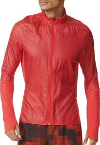 Details about adidas Adizero ClimaProof Mens Track Running Jacket - Red