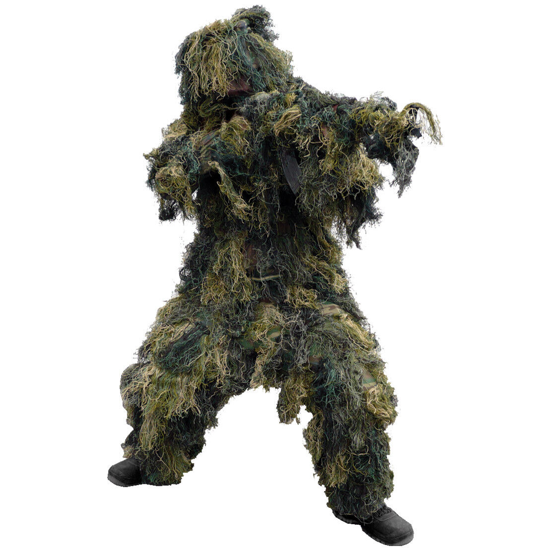 Army Ghillie Suit 3-D Camo 4 Pcs. Hunting Paintball Shooting Airsoft Woodland