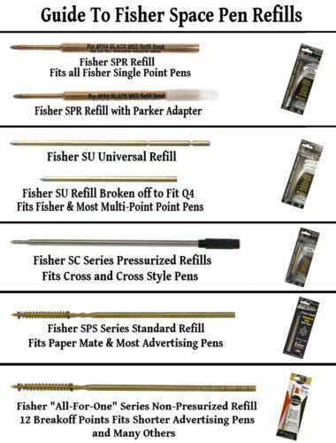 Fisher Space Pens Matte Black Bullet Pen #400B Plus An Extra Blue Refill