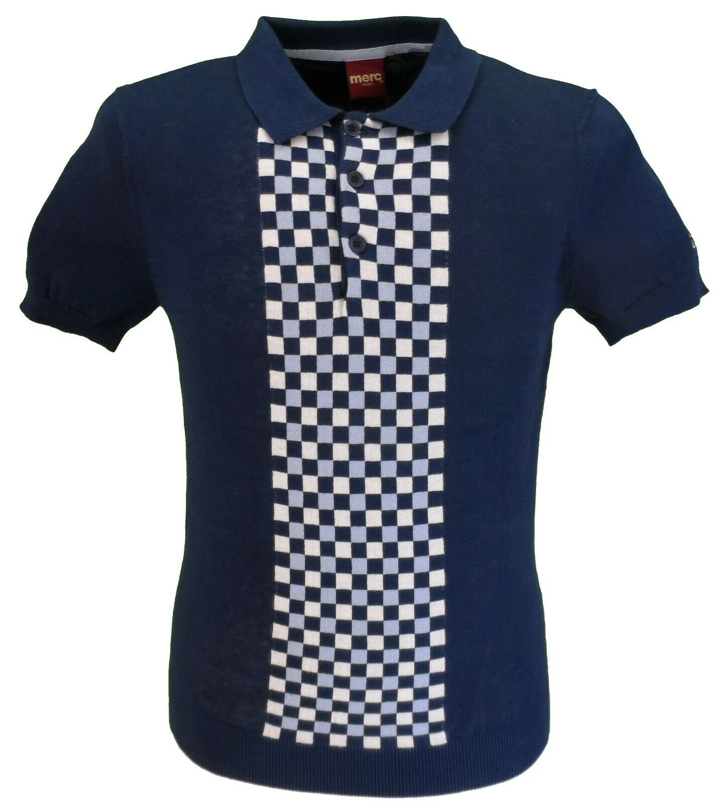 Merc Mens Jarvis Navy Knitted Polo Shirts