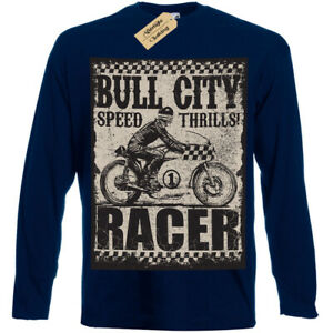 Bull-city-T-Shirt-Speed-thrills-racer-biker-motorbike-t-shirt-Mens-Long-Sleeve