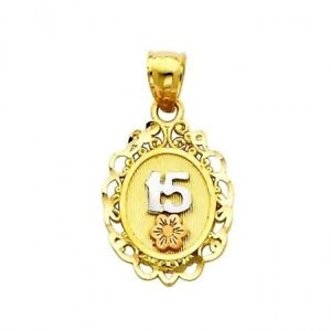 9f0dfd1cf 14K Tri-Color Gold 15 Anos Oval Quinceanera Fifteen Charm Pendant