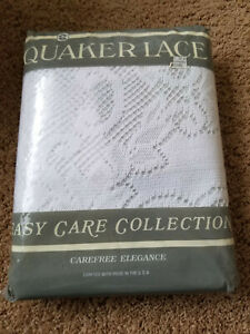 NEW Quaker Lace White Amherst Tablecloth 60 x 104 Oblong - Made in USA