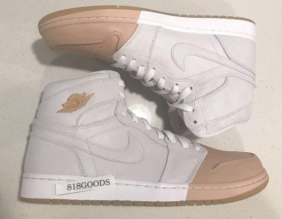 Nike Air Jordan Retro I 1 High Premium Women's 12 Men's 10.5 New White gold Toe