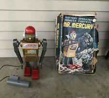 1960'S MARX BATTERY OPERATED MR. MERCURY ROBOT 13 INCHES With Box And Insert