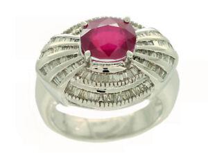 3-18ct-Rubis-amp-Diamant-Serti-Bague-14k-or-Blanc