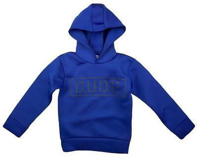 Boys DUDE Motif Fishskin Feel Hoody Jumper Blue Hooded Top 2 to 6 Years