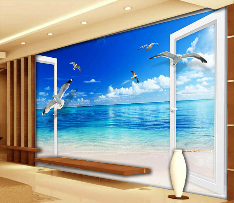Flying Seagulls 3D Full Wall Mural Photo Wallpaper Printing Home Kids Decor