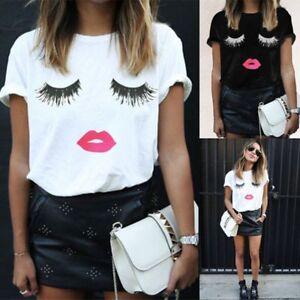 6f82fa9273 Details about Fashion Womens Ladies Eyelash Summer Loose Tops Short Sleeve  Blouse T Shirt