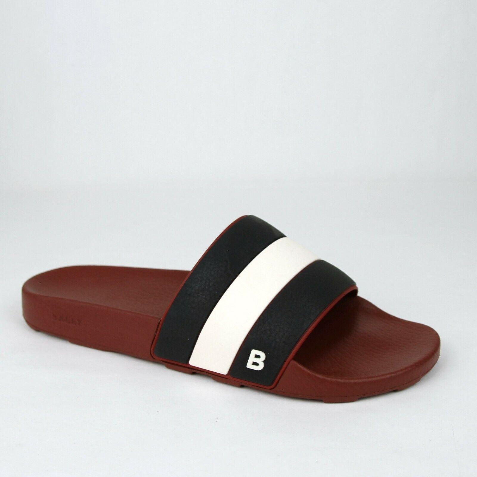 Nuevo Bally Para hombre Zapatillas De Goma Negro Rojo Oscuro con el logotipo 9D sleter - 07