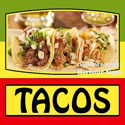 """Tacos Decal 18"""" Mexican Latino Food Truck Restaurant Concession Cater Vinyl Menu"""