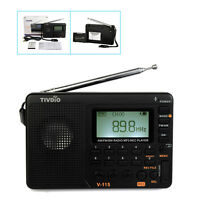 V-115 Fm/am/sw Mini Radios World Band Receiver Mp3 Player Rechargeable Us