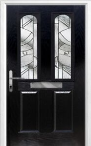 2 Panel 2 Arch Abstract Composite Front Door in Black Various sizes