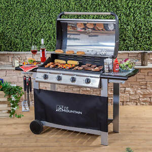 Fire-Mountain-Everest-4-Burner-Gas-Barbecue-in-Stainless-Steel-amp-Black