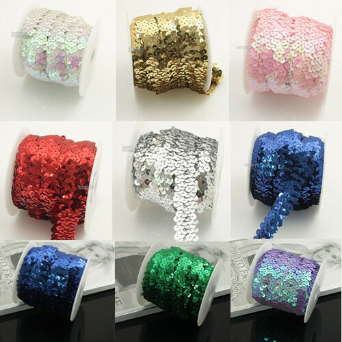 10 Yards Sequin Lace Ribbon Elastic Trimming Stretch Sequin Banding Decor Crafts