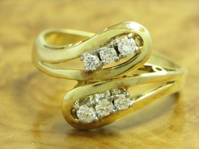 14kt 585 BICOLOR gold RING MIT 0,24ct. BRILLANT BESATZ DIAMANTRING BRILLANTRING