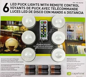 Image is loading Capstone-6-LED-Puck-Lights-w-Remote-Control-