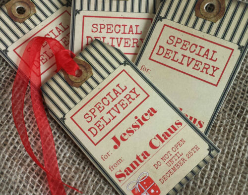 Set of 4 Large Special Delivery Personalised Christmas Gift Tags and Ribbon