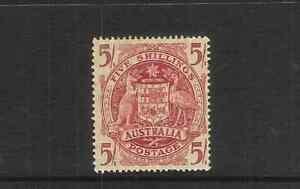 AUSTRALIA-1951-5-CLARET-THIN-PAPER-SG-224ab-LMM