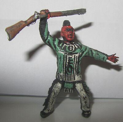 Delizioso Soldatino Xiloplasto Indiano Con Fucile Colorazione Rara Gomma