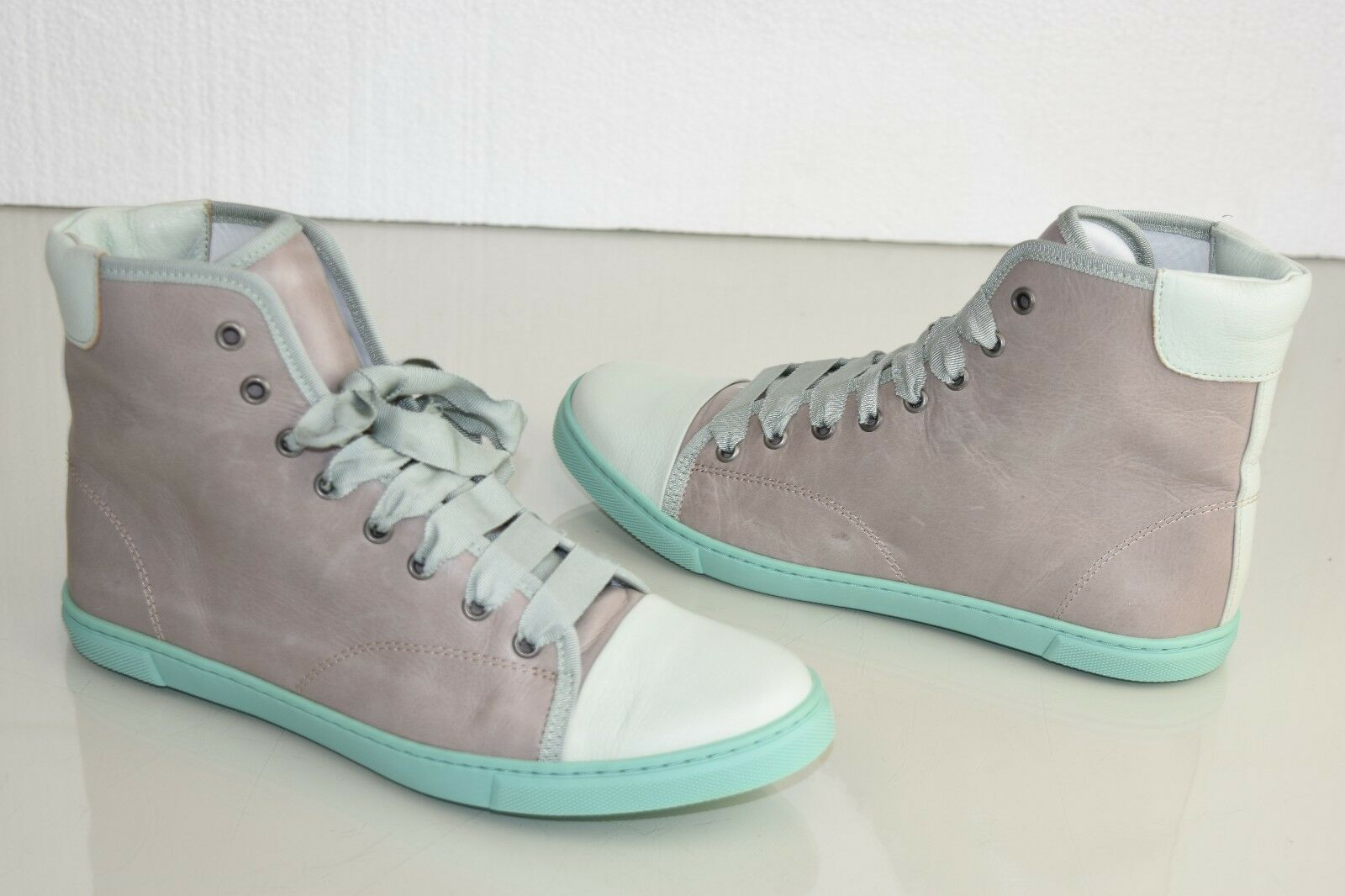 695 NEW Lanvin Basket Haute High Top Sneakers Light Gray Mint Lace Up Shoes 40