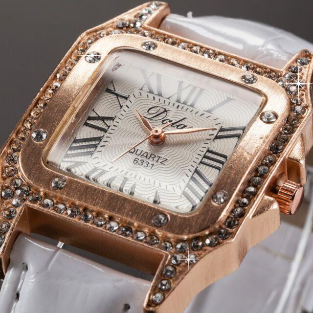 Elegant Rose Gold White Bracelet Quartz Wrist Watch Leather Strap Christmas Gift