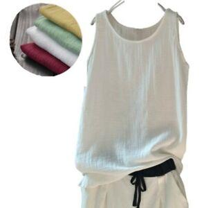 Women Casual Linen Cotton Tank Top Loose Leisure Breathable Sleeveless T-Shirt B