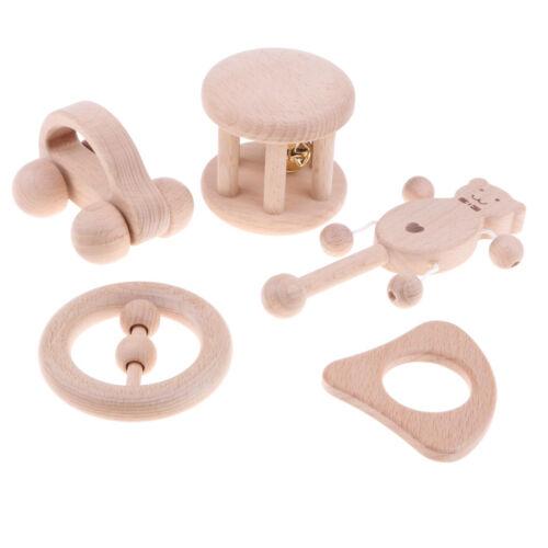 5 Piece Natural Wooden Rattle Teether Baby Montessori Development Shaker Toy