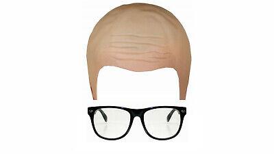 Homme TV Show Host comédien Celebrity Bald Cap lunettes Fancy Dress Accessoires