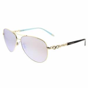 236f640d9277 Tiffany   Co. TF 3049B 609164 Pale Gold Aviator Sunglasses White ...