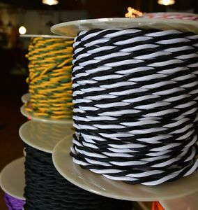 Black and White Twisted Cloth Covered Electrical Wire 25 ft - Steampunk Retro