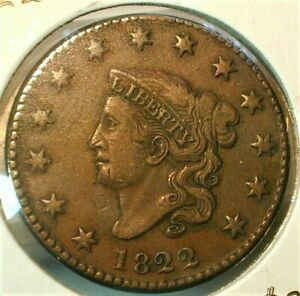 1822 Coronet Head Better Date Large Cent in a Nice XF Condition (531) ASTZ*