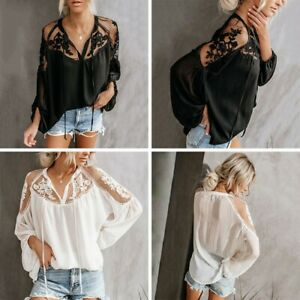 bfe174d9093 Details about Women's Summer Loose Casual Chiffon Long Sleeve Lace Sheer T  Shirt Tops Blouse