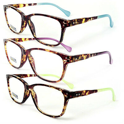 Classic Tortoise Frame Reading Glasses Colorful Arms Retro Vintage Style 175-300