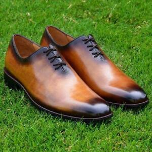 Handmade-wholecut-Chaussures-Noir-Lustre-Clair-Mariage-Fete-Mollet-Chaussures-en-cuir