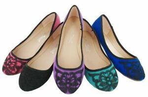 SALE-LADIES-ANNE-MICHELLE-SUEDE-EFFECT-EMBROIDERED-BALLERINA-DOLLY-SHOES-L4946