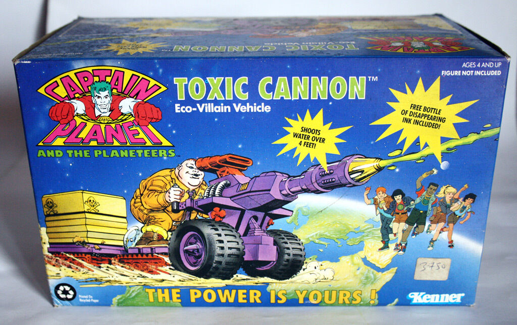 1991 CAPTAIN PLANET FIGURE TOXIC CANNON ECO VEHICLE KENNER NEW MIB SEALED