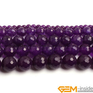 """Dyed Natural Jade Faceted Round Bead 15/"""" Purple Red Green Blue 4 6 8mm 10mm 12mm"""