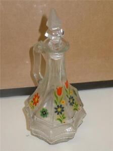 Anitique-8-034-Horne-Floral-Flower-1932-Glass-Vinegar-Oil-Decanter-W-Stopper-Top-VG