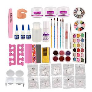 Nail-Kit-Nail-Art-Set-Acrylic-Powder-Glitter-Nail-Art-Manicure-Tool-Tip-Brush-US